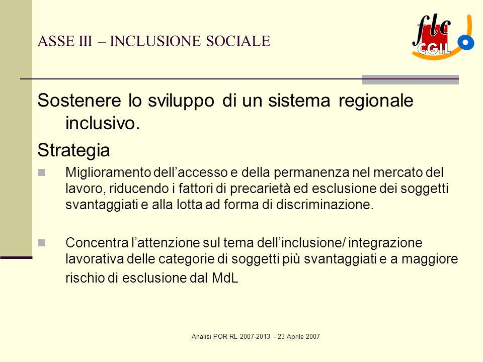 Analisi POR RL 2007-2013 - 23 Aprile 2007 ASSE III – INCLUSIONE SOCIALE Sostenere lo sviluppo di un sistema regionale inclusivo. Strategia Miglioramen