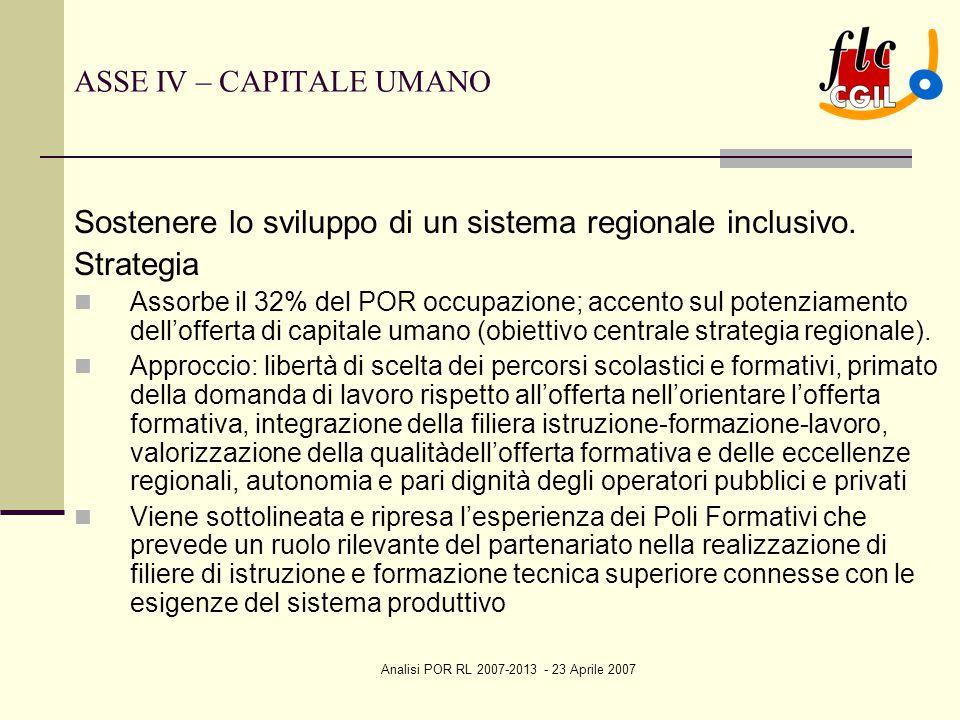 Analisi POR RL 2007-2013 - 23 Aprile 2007 ASSE IV – CAPITALE UMANO Sostenere lo sviluppo di un sistema regionale inclusivo. Strategia Assorbe il 32% d