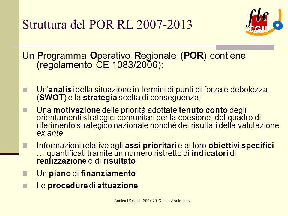 Analisi POR RL 2007-2013 - 23 Aprile 2007 Struttura del POR RL 2007-2013 Un Programma Operativo Regionale (POR) contiene (regolamento CE 1083/2006): Un analisi della situazione in termini di punti di forza e debolezza (SWOT) e la strategia scelta di conseguenza; Una motivazione delle priorità adottate tenuto conto degli orientamenti strategici comunitari per la coesione, del quadro di riferimento strategico nazionale nonché dei risultati della valutazione ex ante Informazioni relative agli assi prioritari e ai loro obiettivi specifici … quantificati tramite un numero ristretto di indicatori di realizzazione e di risultato Un piano di finanziamento Le procedure di attuazione