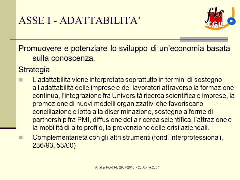Analisi POR RL 2007-2013 - 23 Aprile 2007 ASSE I - ADATTABILITA' Promuovere e potenziare lo sviluppo di un'economia basata sulla conoscenza. Strategia