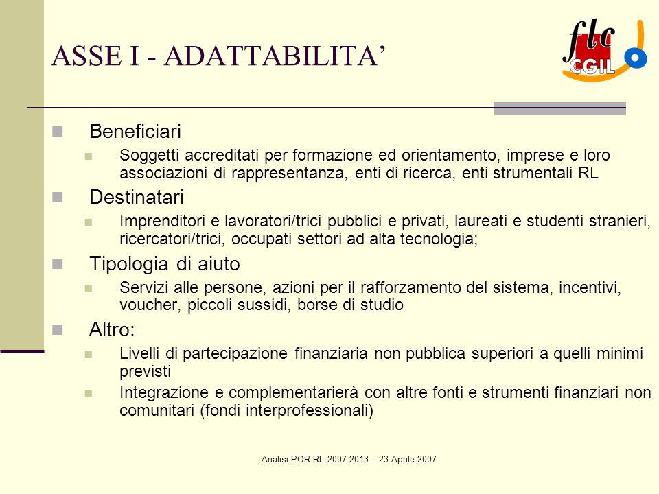 Analisi POR RL 2007-2013 - 23 Aprile 2007 ASSE I - ADATTABILITA' Beneficiari Soggetti accreditati per formazione ed orientamento, imprese e loro assoc