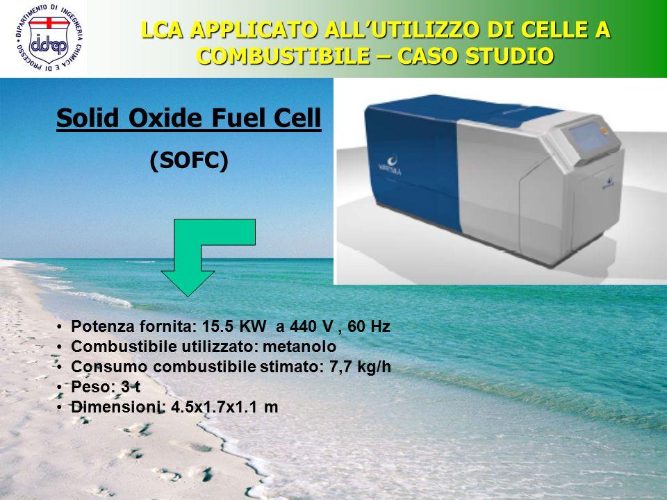 LCA APPLICATO ALL'UTILIZZO DI CELLE A COMBUSTIBILE – CASO STUDIO Solid Oxide Fuel Cell (SOFC) Potenza fornita: 15.5 KW a 440 V, 60 Hz Combustibile uti