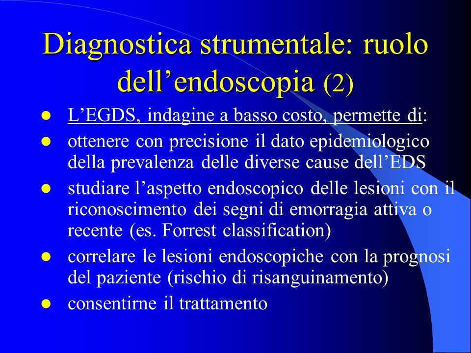Diagnostica strumentale: ruolo dell'endoscopia (2) L'EGDS, indagine a basso costo, permette di: ottenere con precisione il dato epidemiologico della p
