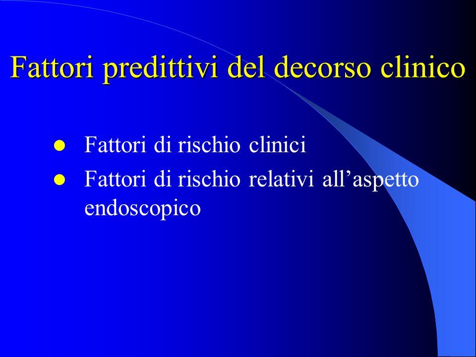 Fattori predittivi del decorso clinico Fattori di rischio clinici Fattori di rischio relativi all'aspetto endoscopico