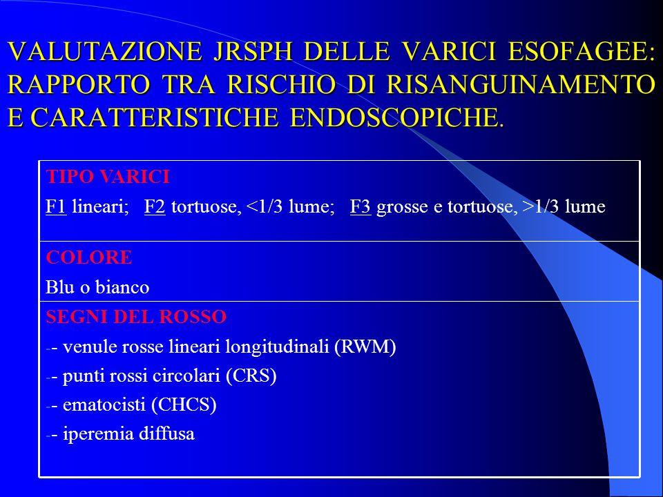 VALUTAZIONE JRSPH DELLE VARICI ESOFAGEE: RAPPORTO TRA RISCHIO DI RISANGUINAMENTO E CARATTERISTICHE ENDOSCOPICHE. SEGNI DEL ROSSO - - venule rosse line