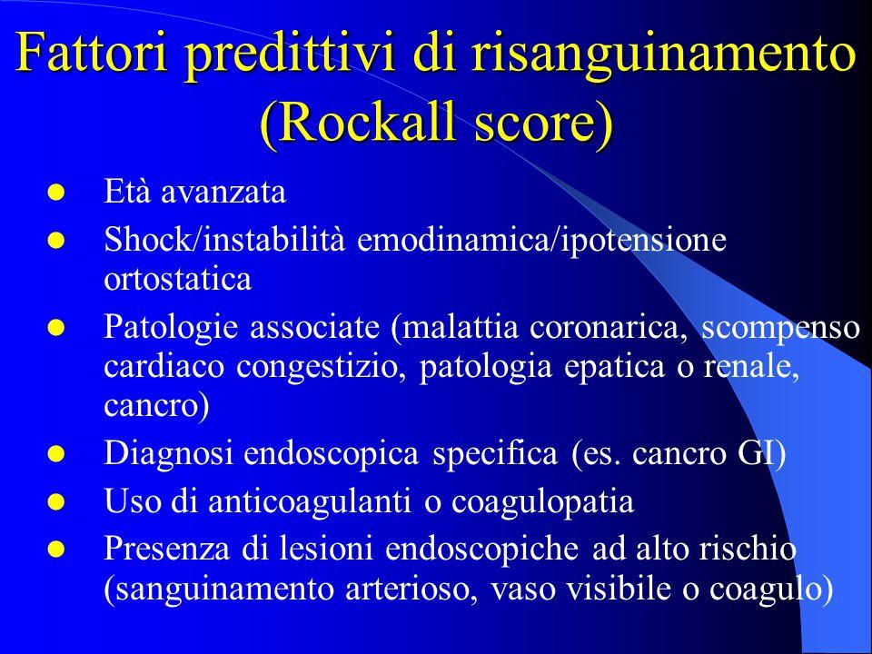 Fattori predittivi di risanguinamento (Rockall score) Età avanzata Shock/instabilità emodinamica/ipotensione ortostatica Patologie associate (malattia