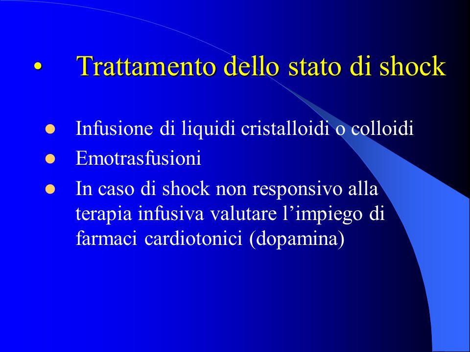 Trattamento dello stato di shockTrattamento dello stato di shock Infusione di liquidi cristalloidi o colloidi Emotrasfusioni In caso di shock non resp