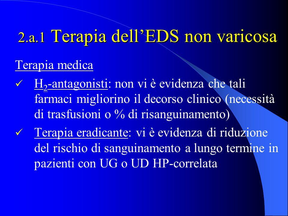 2.a.1 Terapia dell'EDS non varicosa Terapia medica H 2 -antagonisti: non vi è evidenza che tali farmaci migliorino il decorso clinico (necessità di tr