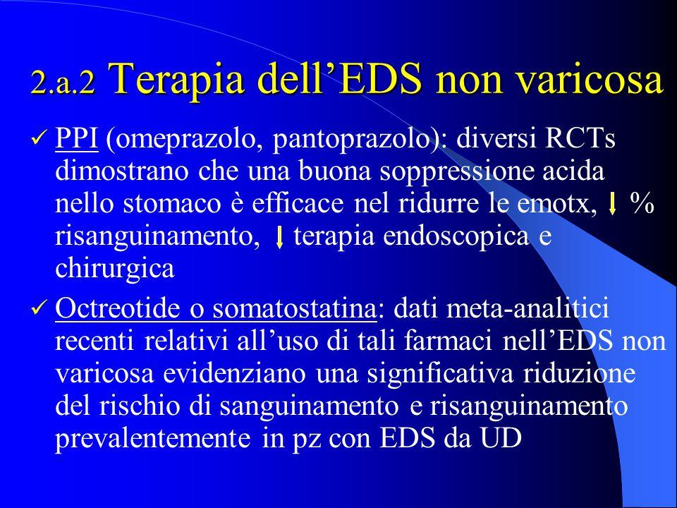 2.a.2 Terapia dell'EDS non varicosa PPI (omeprazolo, pantoprazolo): diversi RCTs dimostrano che una buona soppressione acida nello stomaco è efficace