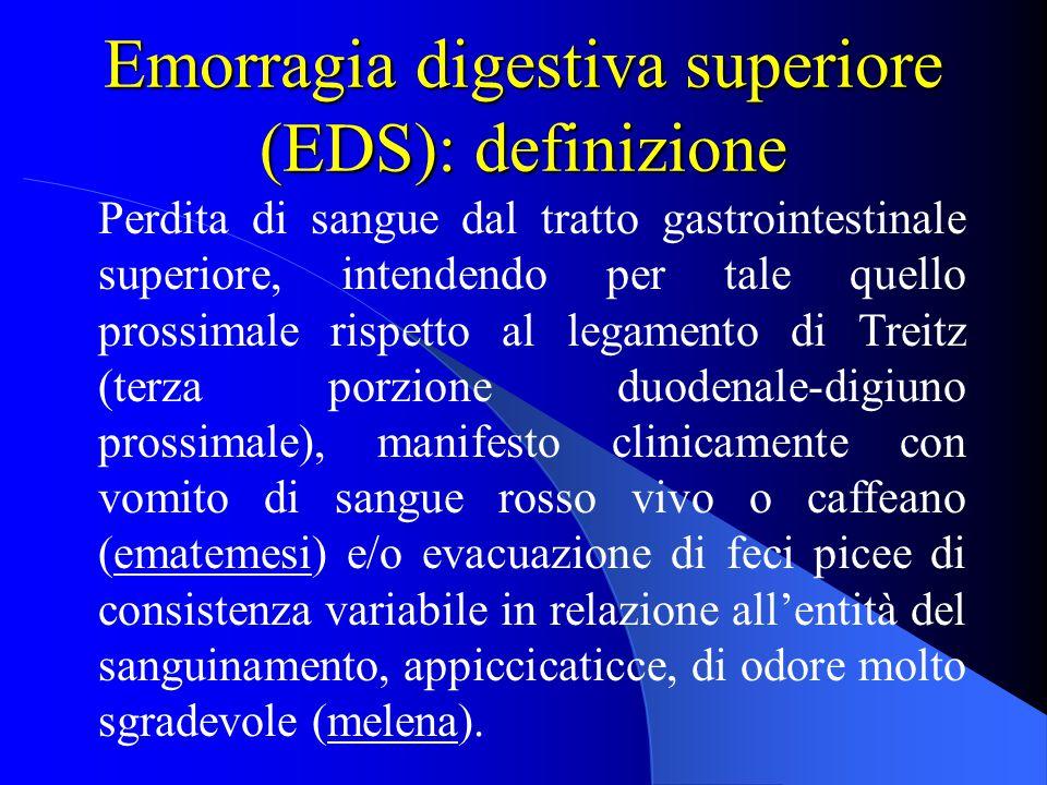 Emorragia digestiva superiore (EDS): definizione Perdita di sangue dal tratto gastrointestinale superiore, intendendo per tale quello prossimale rispe