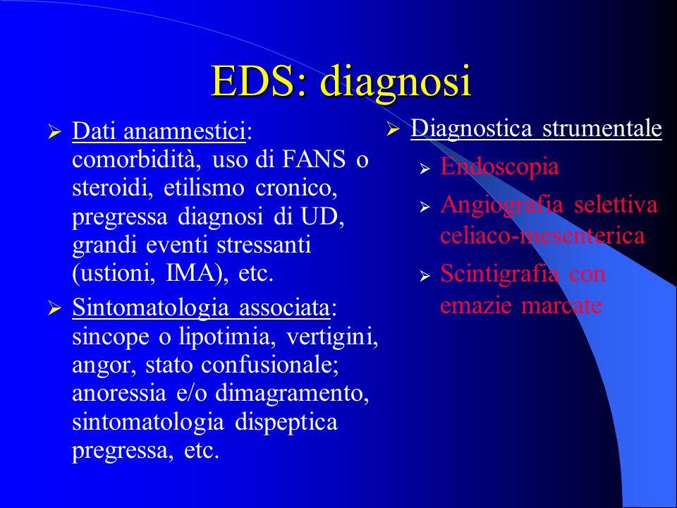EDS: diagnosi  Dati anamnestici: comorbidità, uso di FANS o steroidi, etilismo cronico, pregressa diagnosi di UD, grandi eventi stressanti (ustioni,