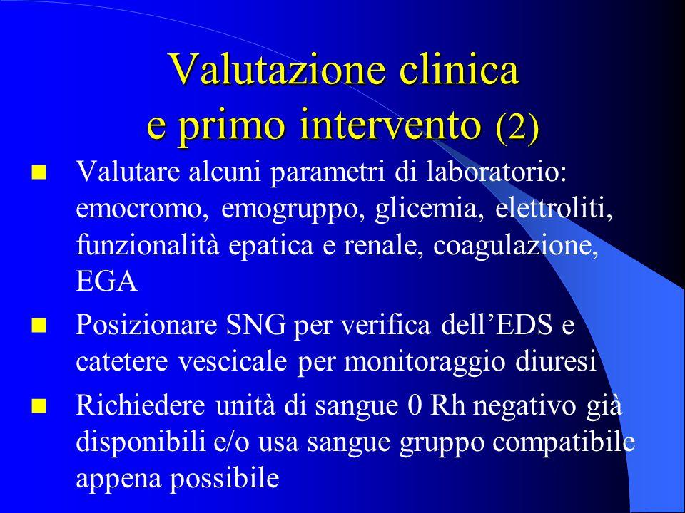 Valutazione clinica e primo intervento (2) Valutare alcuni parametri di laboratorio: emocromo, emogruppo, glicemia, elettroliti, funzionalità epatica