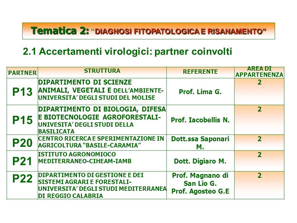 SCARTATE Tematica 2: DIAGNOSI FITOPATOLOGICA E RISANAMENTO Tematica 2: DIAGNOSI FITOPATOLOGICA E RISANAMENTO 2.1 Accertamenti virologici: partner coinvolti PARTNER STRUTTURA REFERENTE AREA DI APPARTENENZA P13 DIPARTIMENTO DI SCIENZE ANIMALI, VEGETALI E DELL'AMBIENTE- UNIVERSITA' DEGLI STUDI DEL MOLISE Prof.