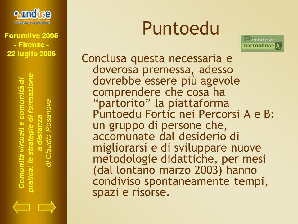Forumlive 2005 - Firenze - 22 luglio 2005 Comunità virtuali e comunità di pratica: le strategie di formazione a distanza di Claudio Rosanova Puntoedu