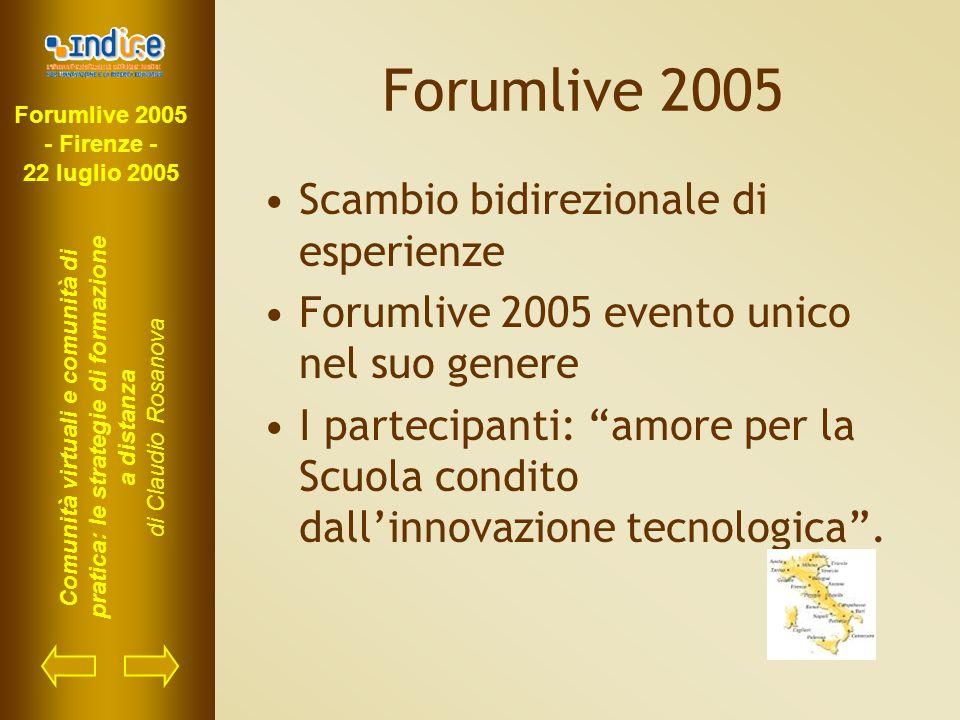 Forumlive 2005 - Firenze - 22 luglio 2005 Comunità virtuali e comunità di pratica: le strategie di formazione a distanza di Claudio Rosanova Forumlive 2005 Scambio bidirezionale di esperienze Forumlive 2005 evento unico nel suo genere I partecipanti: amore per la Scuola condito dall'innovazione tecnologica .
