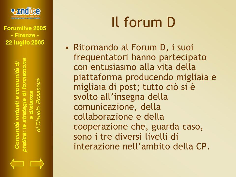 Forumlive 2005 - Firenze - 22 luglio 2005 Comunità virtuali e comunità di pratica: le strategie di formazione a distanza di Claudio Rosanova Il forum