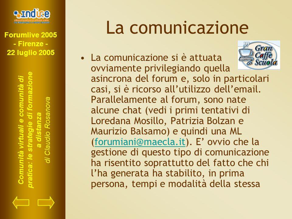 Forumlive 2005 - Firenze - 22 luglio 2005 Comunità virtuali e comunità di pratica: le strategie di formazione a distanza di Claudio Rosanova La comunicazione La comunicazione si è attuata ovviamente privilegiando quella asincrona del forum e, solo in particolari casi, si è ricorso all'utilizzo dell'email.