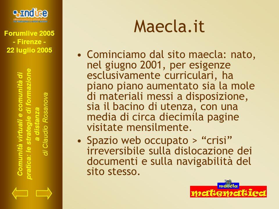 Forumlive 2005 - Firenze - 22 luglio 2005 Comunità virtuali e comunità di pratica: le strategie di formazione a distanza di Claudio Rosanova Maecla.it