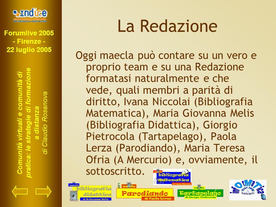 Forumlive 2005 - Firenze - 22 luglio 2005 Comunità virtuali e comunità di pratica: le strategie di formazione a distanza di Claudio Rosanova La Redazi
