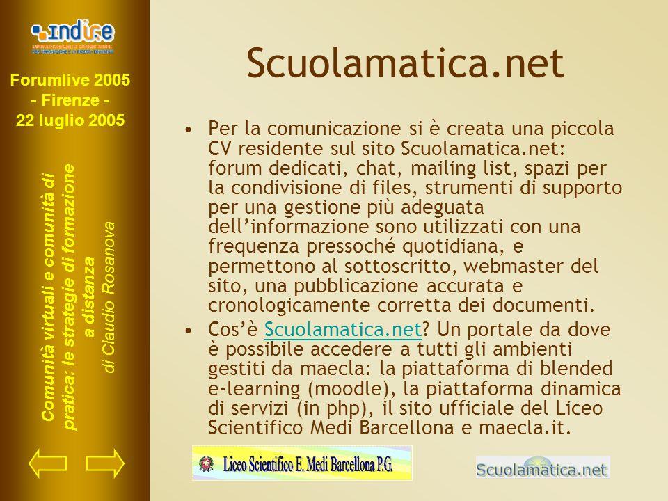 Forumlive 2005 - Firenze - 22 luglio 2005 Comunità virtuali e comunità di pratica: le strategie di formazione a distanza di Claudio Rosanova Scuolamat