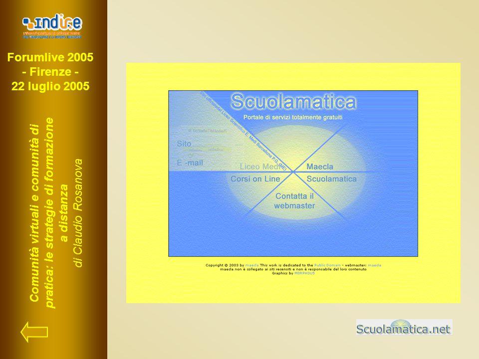 Forumlive 2005 - Firenze - 22 luglio 2005 Comunità virtuali e comunità di pratica: le strategie di formazione a distanza di Claudio Rosanova