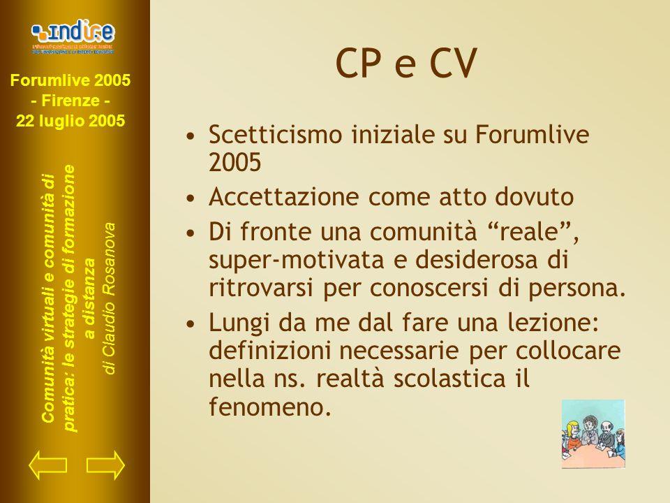 Forumlive 2005 - Firenze - 22 luglio 2005 Comunità virtuali e comunità di pratica: le strategie di formazione a distanza di Claudio Rosanova CP e CV S
