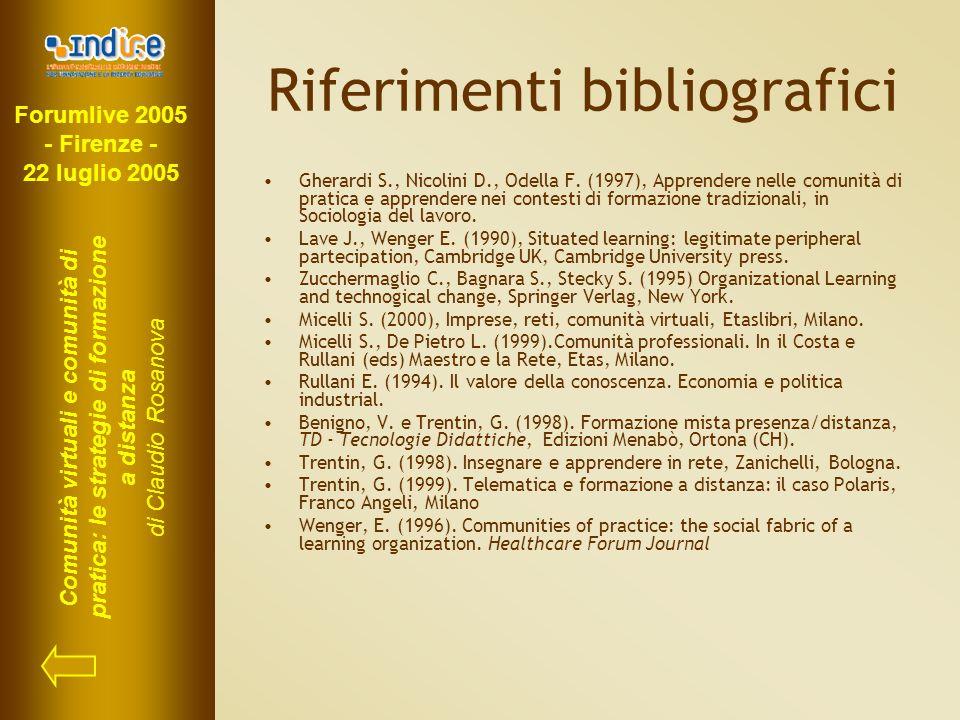 Forumlive 2005 - Firenze - 22 luglio 2005 Comunità virtuali e comunità di pratica: le strategie di formazione a distanza di Claudio Rosanova Riferimenti bibliografici Gherardi S., Nicolini D., Odella F.
