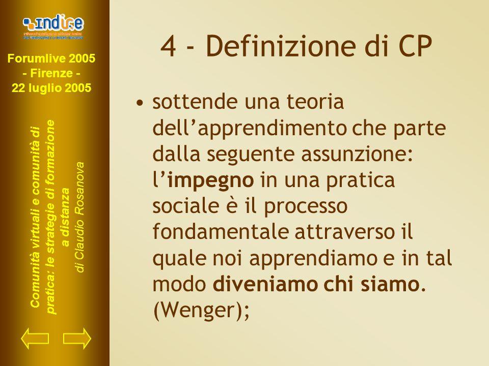 Forumlive 2005 - Firenze - 22 luglio 2005 Comunità virtuali e comunità di pratica: le strategie di formazione a distanza di Claudio Rosanova 4 - Defin