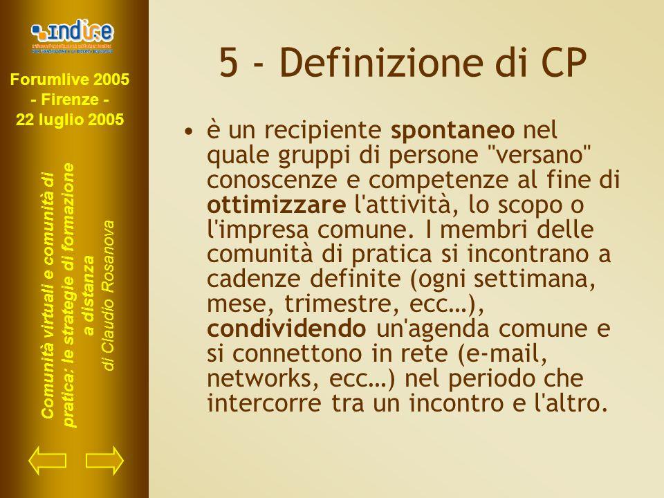 Forumlive 2005 - Firenze - 22 luglio 2005 Comunità virtuali e comunità di pratica: le strategie di formazione a distanza di Claudio Rosanova 6 - Definizione di CP è la fabbrica del capitale umano, cioè il luogo dove questo materiale viene prodotto.( Thomas A.Stewart).