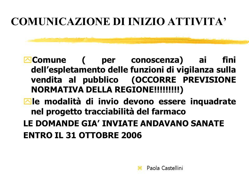 COMUNICAZIONE DI INIZIO ATTIVITA' yComune ( per conoscenza) ai fini dell'espletamento delle funzioni di vigilanza sulla vendita al pubblico (OCCORRE PREVISIONE NORMATIVA DELLA REGIONE!!!!!!!!!) yle modalità di invio devono essere inquadrate nel progetto tracciabilità del farmaco LE DOMANDE GIA' INVIATE ANDAVANO SANATE ENTRO IL 31 OTTOBRE 2006 z Paola Castellini