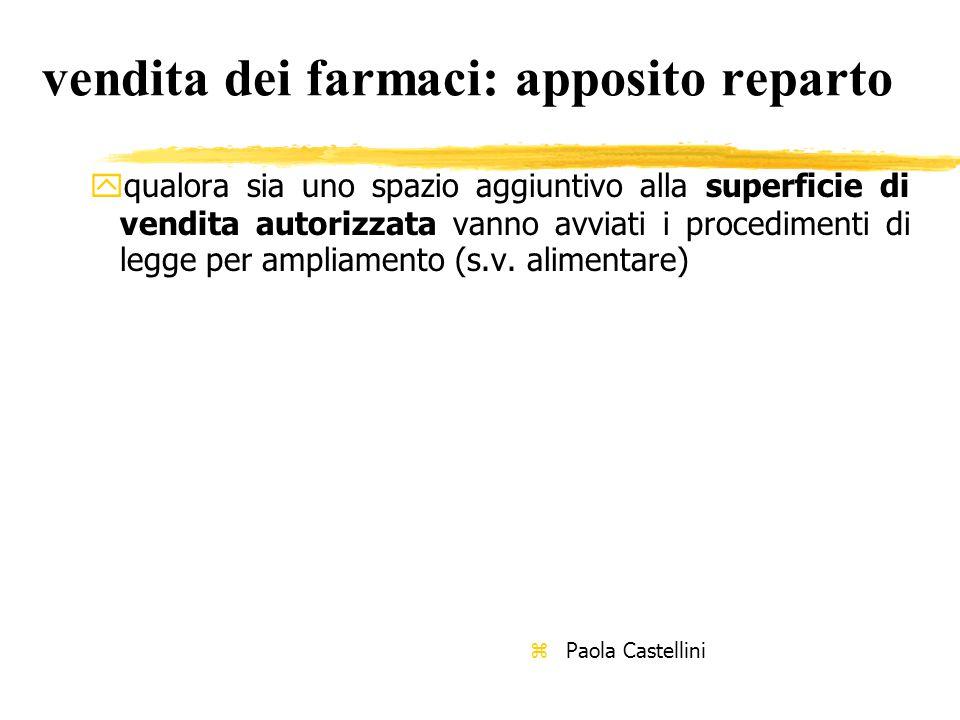 vendita dei farmaci: apposito reparto yqualora sia uno spazio aggiuntivo alla superficie di vendita autorizzata vanno avviati i procedimenti di legge per ampliamento (s.v.