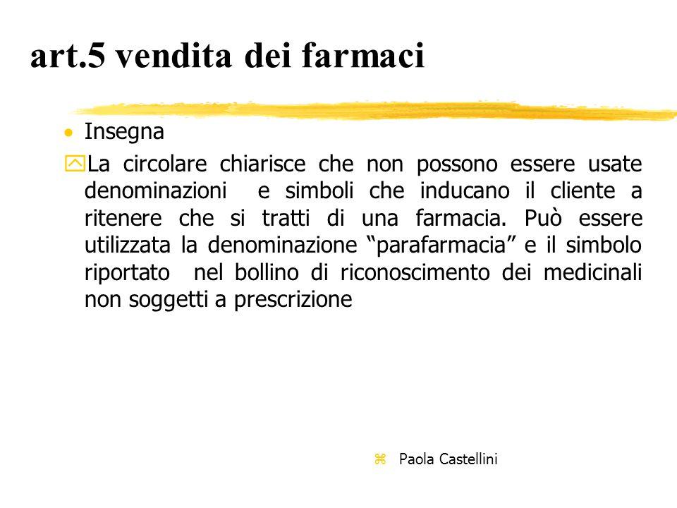 art.5 vendita dei farmaci  Insegna yLa circolare chiarisce che non possono essere usate denominazioni e simboli che inducano il cliente a ritenere che si tratti di una farmacia.