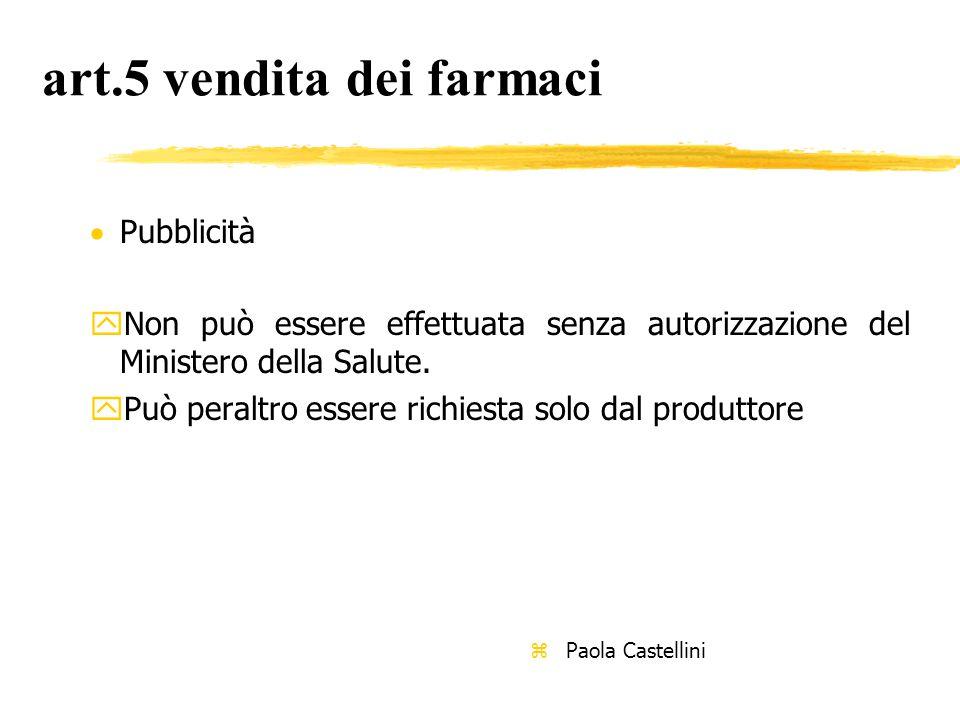 art.5 vendita dei farmaci  Pubblicità yNon può essere effettuata senza autorizzazione del Ministero della Salute.