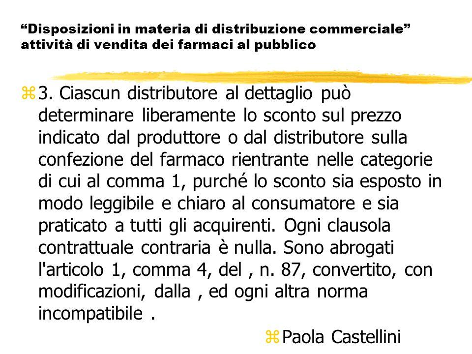 Disposizioni in materia di distribuzione commerciale attività di vendita dei farmaci al pubblico z3.