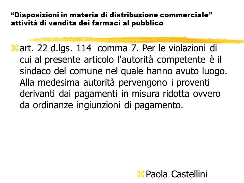 Disposizioni in materia di distribuzione commerciale attività di vendita dei farmaci al pubblico zart.