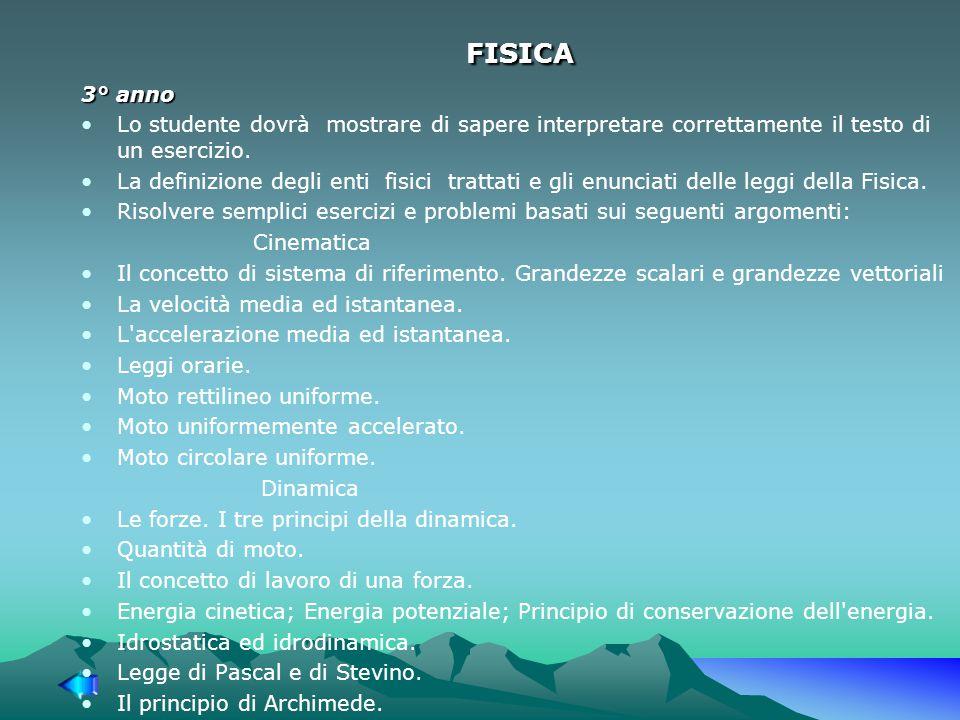 FISICA 3° anno Lo studente dovrà mostrare di sapere interpretare correttamente il testo di un esercizio.