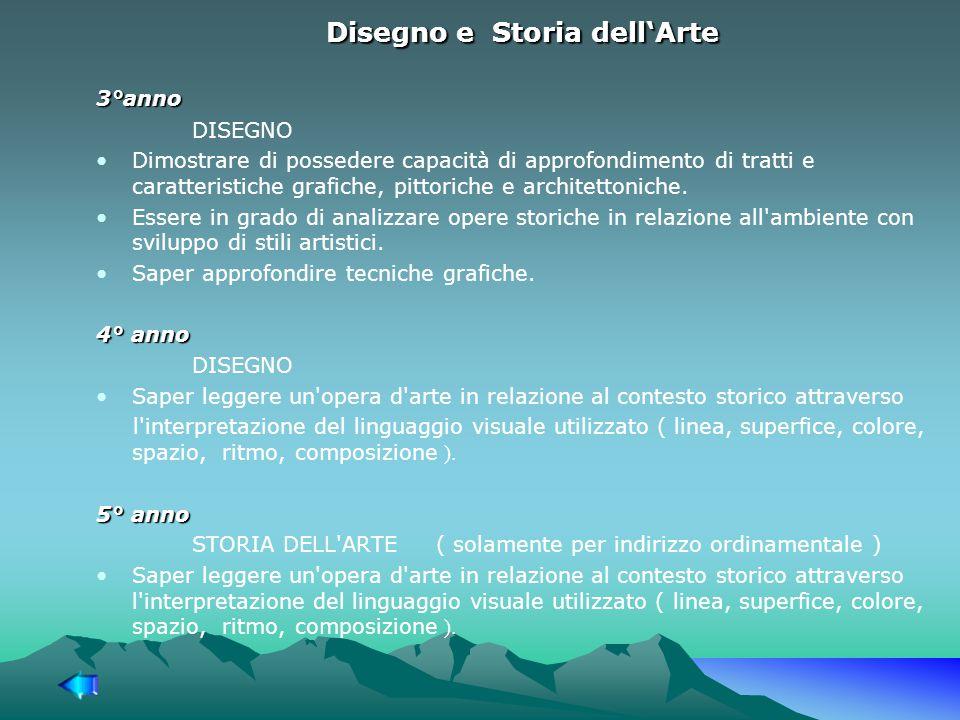 Disegno e Storia dell'Arte 3°anno DISEGNO Dimostrare di possedere capacità di approfondimento di tratti e caratteristiche grafiche, pittoriche e architettoniche.