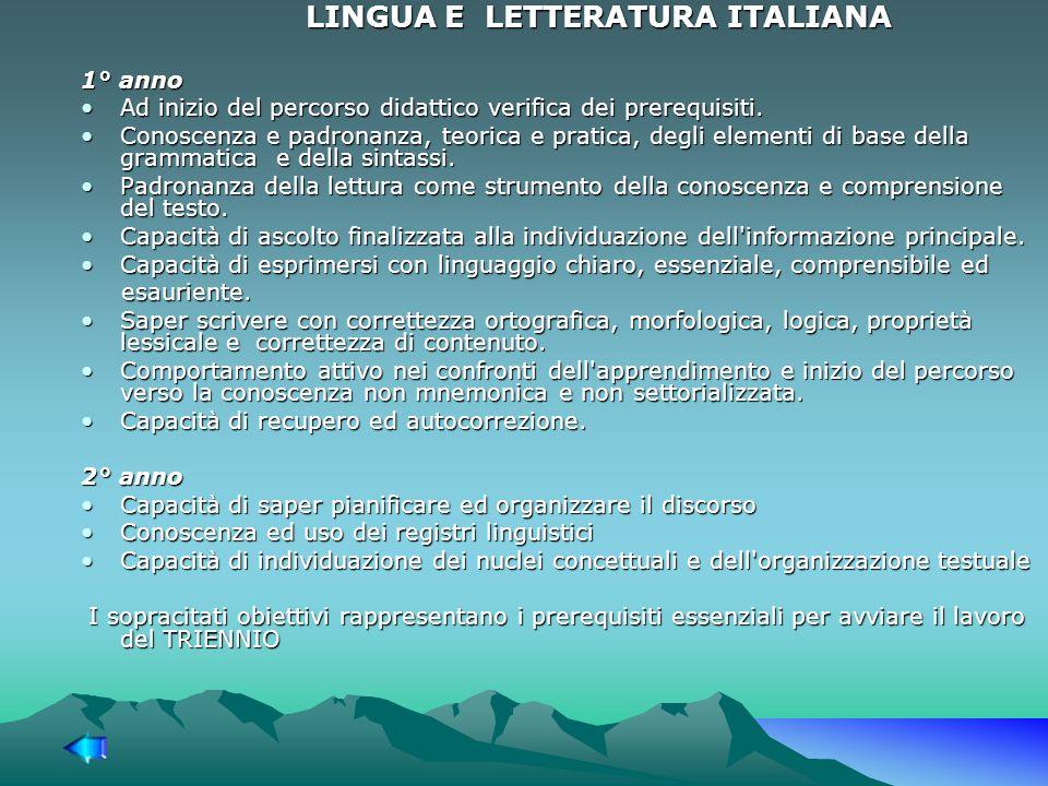 LINGUA E LETTERATURA ITALIANA 1° anno Ad inizio del percorso didattico verifica dei prerequisiti.Ad inizio del percorso didattico verifica dei prerequisiti.