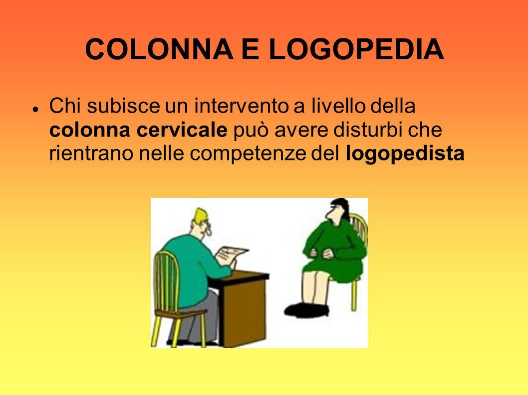 COLONNA E LOGOPEDIA Chi subisce un intervento a livello della colonna cervicale può avere disturbi che rientrano nelle competenze del logopedista