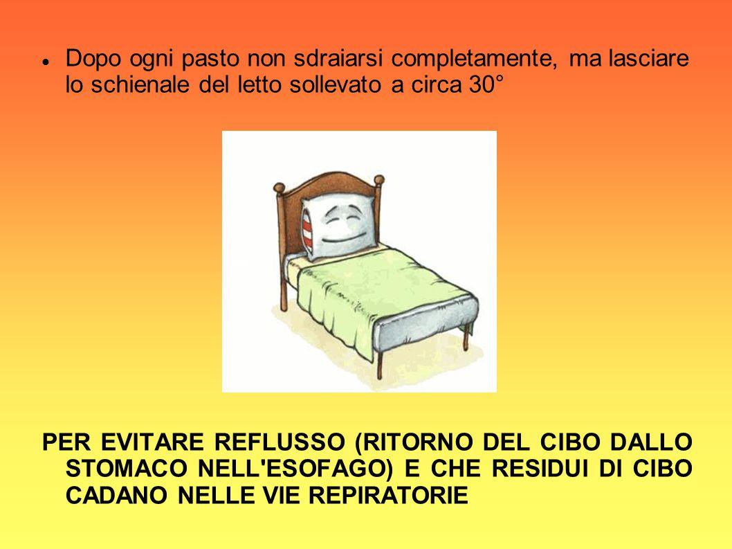 Dopo ogni pasto non sdraiarsi completamente, ma lasciare lo schienale del letto sollevato a circa 30° PER EVITARE REFLUSSO (RITORNO DEL CIBO DALLO STO