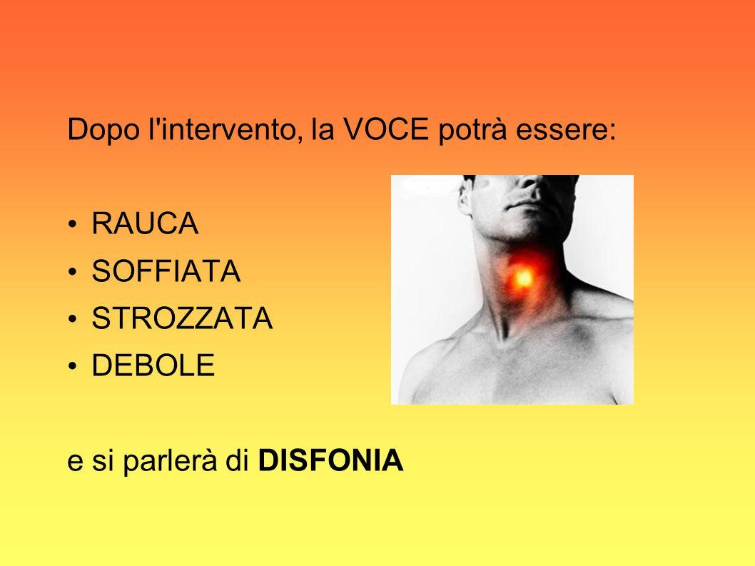 Dopo l intervento, la VOCE potrà essere: RAUCA SOFFIATA STROZZATA DEBOLE e si parlerà di DISFONIA