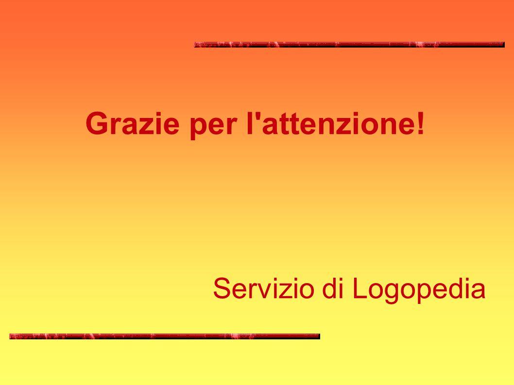 Grazie per l'attenzione! Servizio di Logopedia