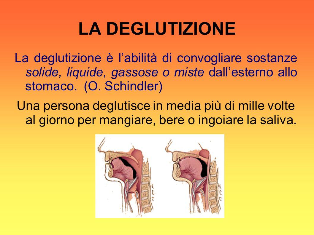 LA DEGLUTIZIONE La deglutizione è l'abilità di convogliare sostanze solide, liquide, gassose o miste dall'esterno allo stomaco. (O. Schindler) Una per