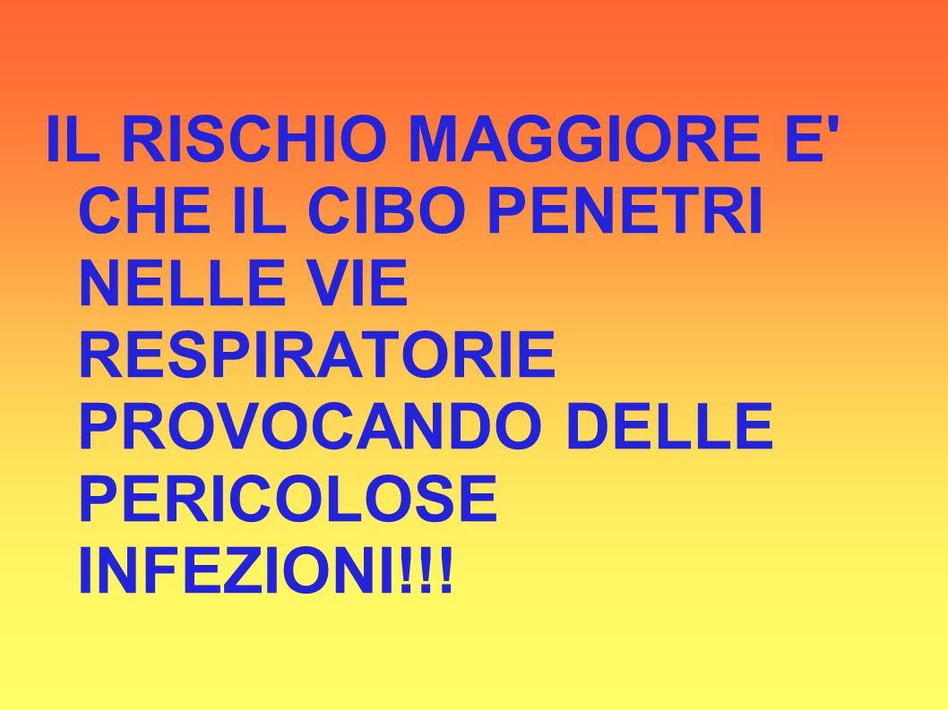 IL RISCHIO MAGGIORE E CHE IL CIBO PENETRI NELLE VIE RESPIRATORIE PROVOCANDO DELLE PERICOLOSE INFEZIONI!!!