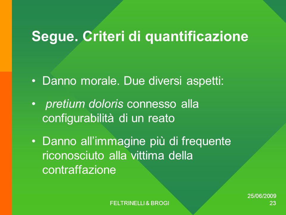 25/06/2009 FELTRINELLI & BROGI 23 Segue. Criteri di quantificazione Danno morale.