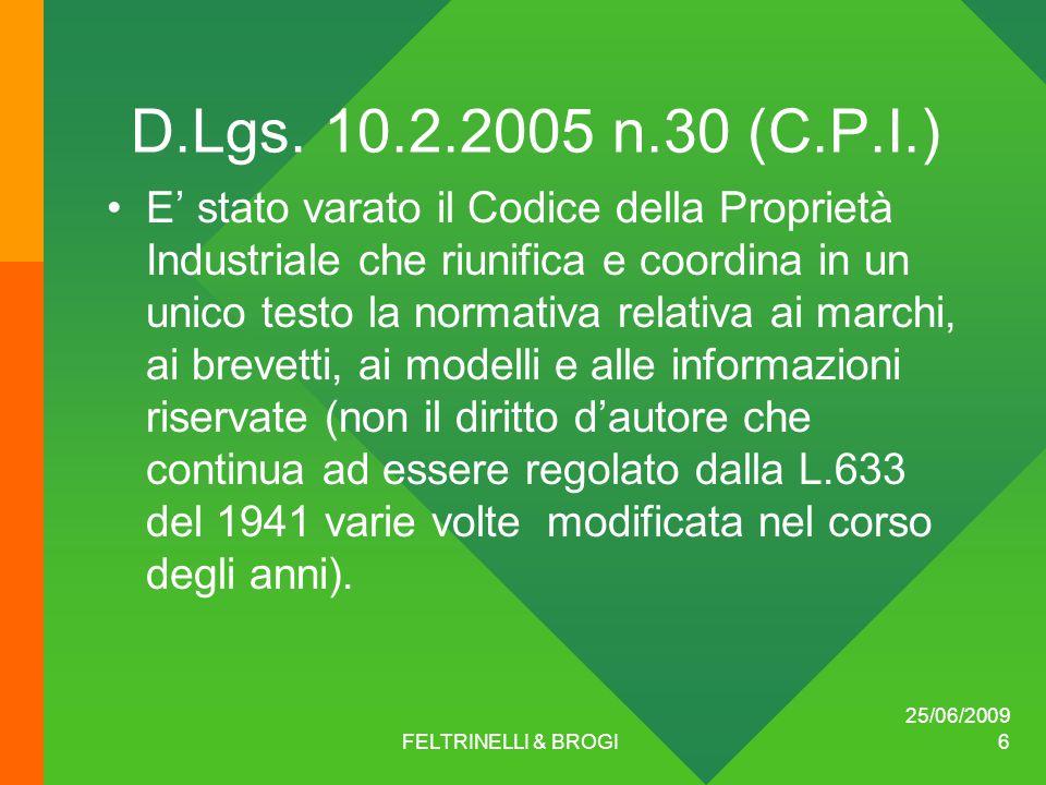 25/06/2009 FELTRINELLI & BROGI 6 D.Lgs.