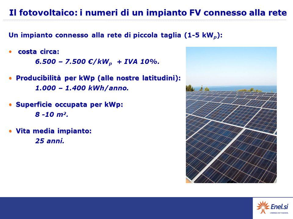 Il fotovoltaico: i numeri di un impianto FV connesso alla rete Un impianto connesso alla rete di piccola taglia (1-5 kW p ): costa circa: costa circa: 6.500 – 7.500 €/kW p + IVA 10%.