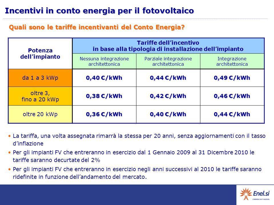 Quali sono le tariffe incentivanti del Conto Energia? La tariffa, una volta assegnata rimarrà la stessa per 20 anni, senza aggiornamenti con il tasso