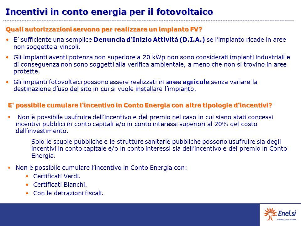 Quali autorizzazioni servono per realizzare un impianto FV? E' sufficiente una semplice Denuncia d'Inizio Attività (D.I.A.) se l'impianto ricade in ar