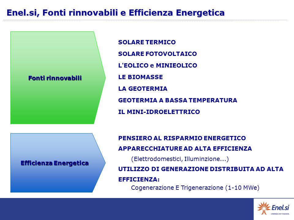 Enel.si, Fonti rinnovabili e Efficienza Energetica Fonti rinnovabili Efficienza Energetica SOLARE TERMICO SOLARE FOTOVOLTAICO L EOLICO e MINIEOLICO LE BIOMASSE LA GEOTERMIA GEOTERMIA A BASSA TEMPERATURA IL MINI-IDROELETTRICO PENSIERO AL RISPARMIO ENERGETICO APPARECCHIATURE AD ALTA EFFICIENZA (Elettrodomestici, Illuminzione...) UTILIZZO DI GENERAZIONE DISTRIBUITA AD ALTA EFFICIENZA: Cogenerazione E Trigenerazione (1-10 MWe)
